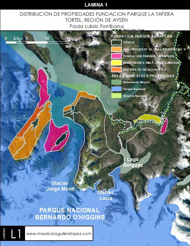 Distribución de propiedades Fundación Parque La Tapera, Tortel, Región de Aysén, vinculados a Paola Luksic Fontbona.