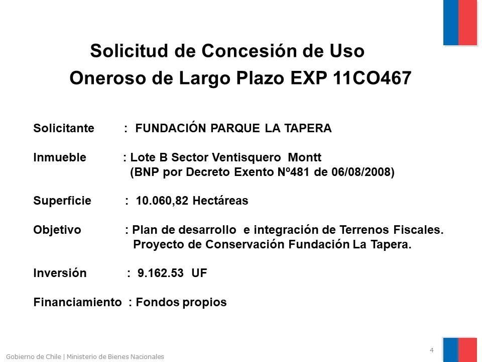 Solicitud de Concesión Fundación Parque La Tapera, Tortel.