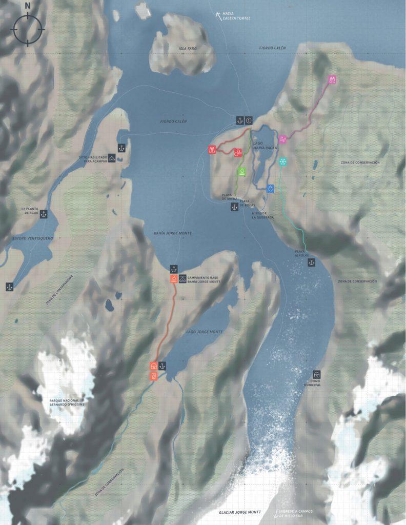 Respaldo plano de senderos de la Fundación Parque La Tapera en el Sector Glaciar Jorge Montt, en la comuna de Tortel